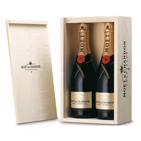 Caja madera 2 bot. Moet & Chandon Imperial 75cl.